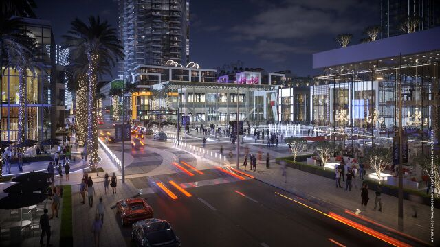 """The central space Miami Worldcenter's developers hope will evoke New York's """"Rockefeller Plaza."""" Its use is intended to swing with the seasons, ranging from a farmers' market to a super-tall Christmas tree for the holidays."""